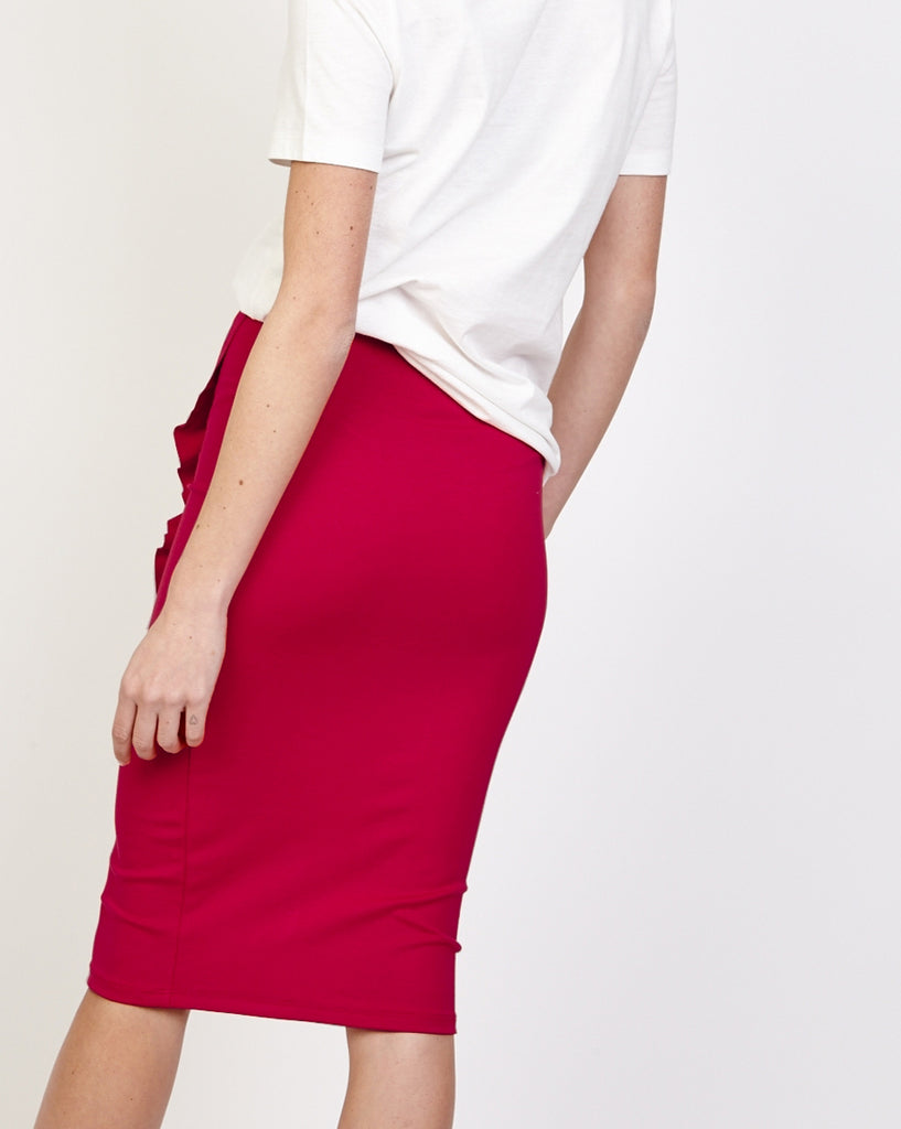 Side View Bella London Calla Dark Red Tube Midi Dress With Front Ruffle Back View
