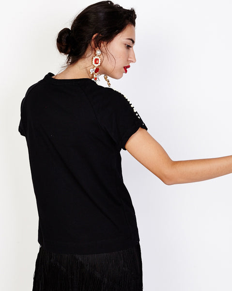 Bella London Maggie Black T-Shirt With Pearls And Net Shoulder Detail. Back View