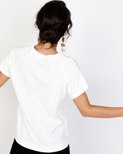 Bella London Maggie White T-Shirt With Pearls And Net Shoulder Detail. Back View
