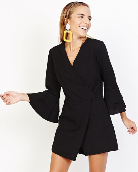 Bella London Gerry Black Bell Sleeve Wrap Style Skort Playsuit. Front View