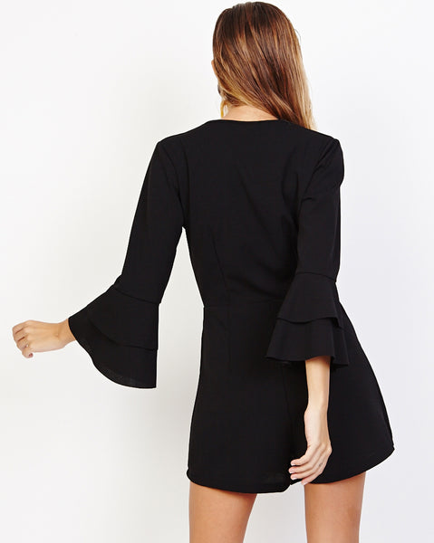 Bella London Gerry Black Bell Sleeve Wrap Style Skort Playsuit. Back View