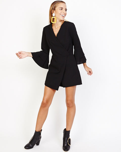 Bella London Gerry Black Bell Sleeve Wrap Style Skort Playsuit. Front Full Length View