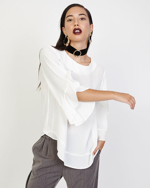 Bella London Opal White Georgette Top With 3/4 Sleeves And Frill Detail. Front View