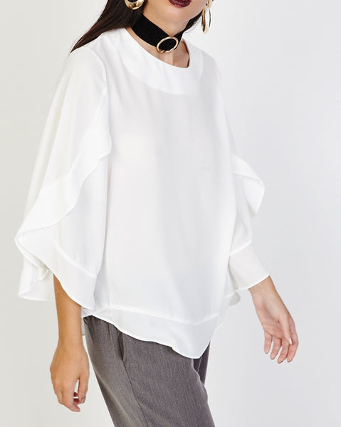 Bella London Opal White Georgette Top With 3/4 Sleeves And Frill Detail. Side Front View