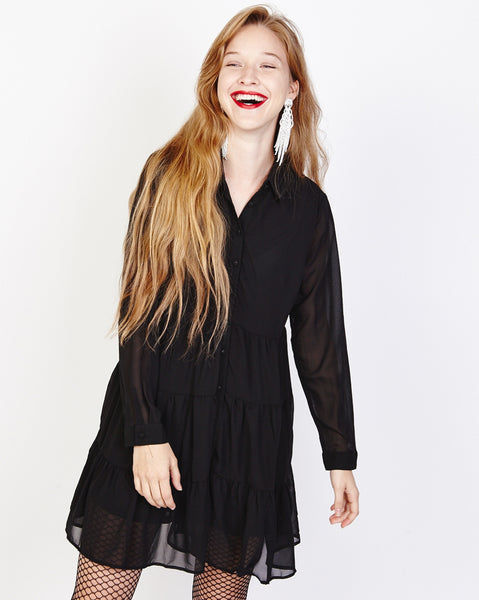 Bella London Paola Black Chiffon Shirt Dress With Sheer Sleeves And Ruffled Skirt. Front View.