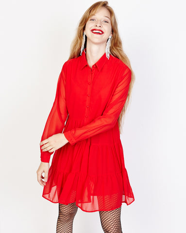 Bella London Paola Red Chiffon Shirt Dress With Sheer Sleeves And Ruffled Skirt. Front View.