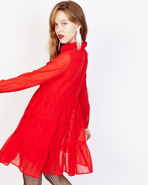 Bella London Paola Red Chiffon Shirt Dress With Sheer Sleeves And Ruffled Skirt. Side Back View.