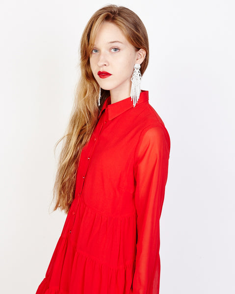 Bella London Paola Red Chiffon Shirt Dress With Sheer Sleeves And Ruffled Skirt. Detail View.