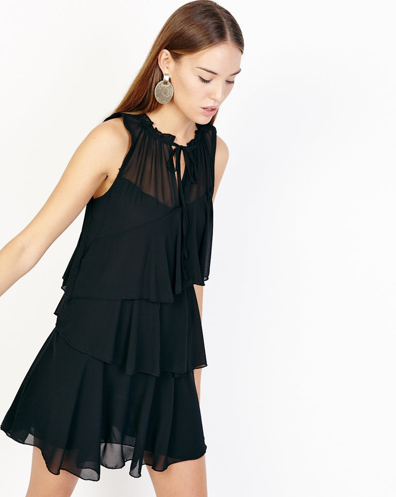 Bella London Nahia Black Chiffon Tiered Ruffle Dress With Sheer Neck Panel. Front View.