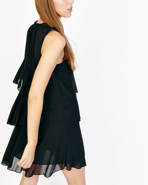 Bella London Nahia Black Chiffon Tiered Ruffle Dress With Sheer Neck Panel. Side View.