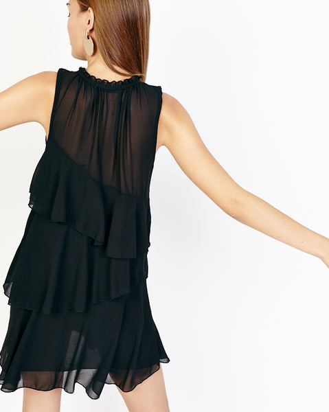 Bella London Nahia Black Chiffon Tiered Ruffle Dress With Sheer Neck Panel. Back View.