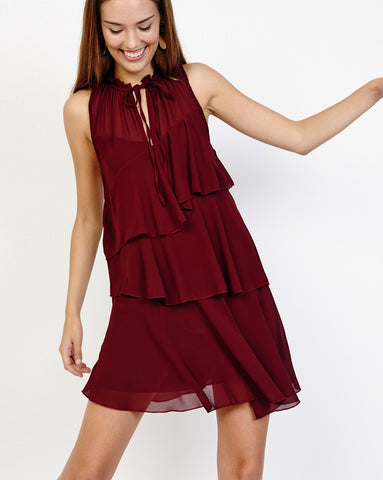 Bella London Nahia Wine Chiffon Tiered Ruffle Dress With Sheer Neck Panel. Front View.
