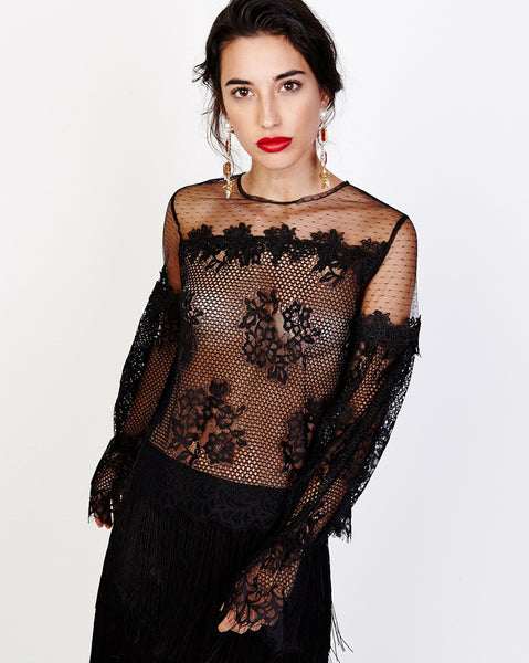 Bella London Viona Black Mixed Lace Sheer Blouse With Long Bell Sleeves. Front View.