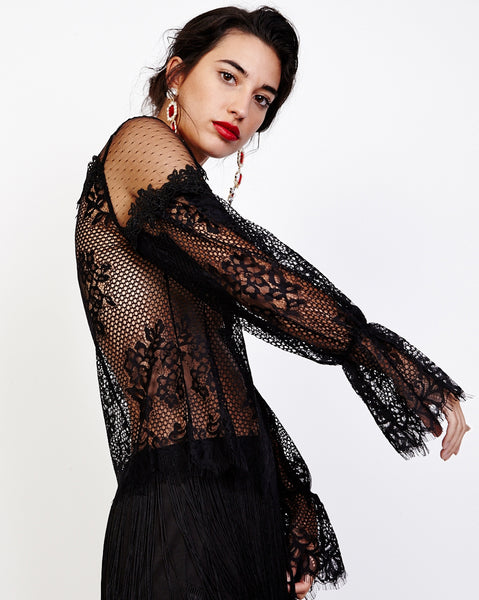Bella London Viona Black Mixed Lace Sheer Blouse With Long Bell Sleeves. Side View.