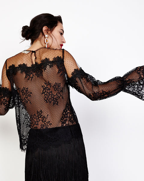 Bella London Viona Black Mixed Lace Sheer Blouse With Long Bell Sleeves. Back View.
