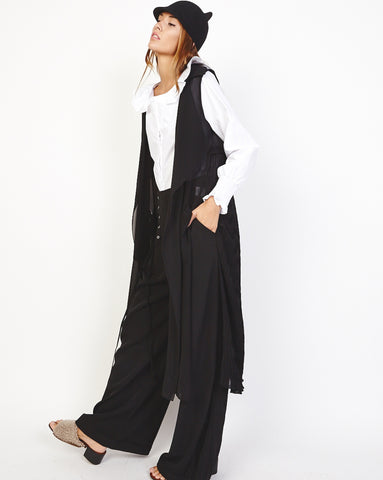 Bella London 'Una' Black Chiffon Sleeveless Duster Trench Coat Vest. Side Front View.