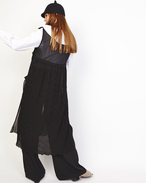 Bella London 'Una' Black Chiffon Sleeveless Duster Trench Coat Vest. Back View.