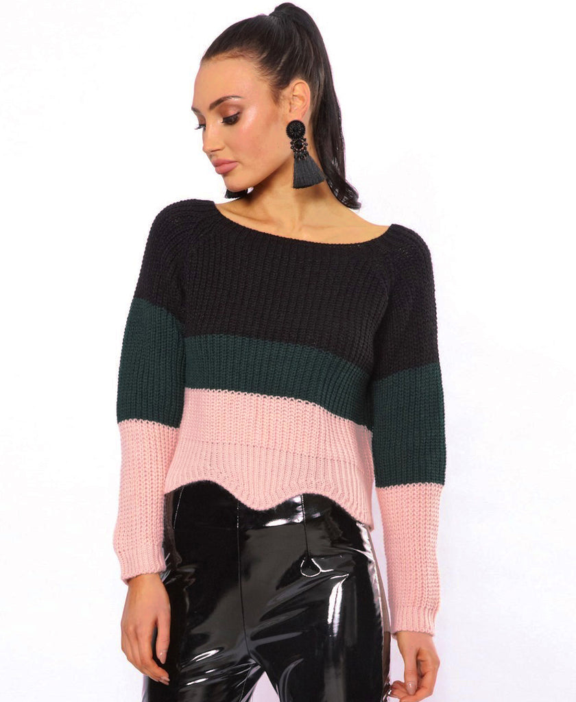 Bella London Ella Black Colour Block Knitted Jumper With Scalloped Hem. Front View