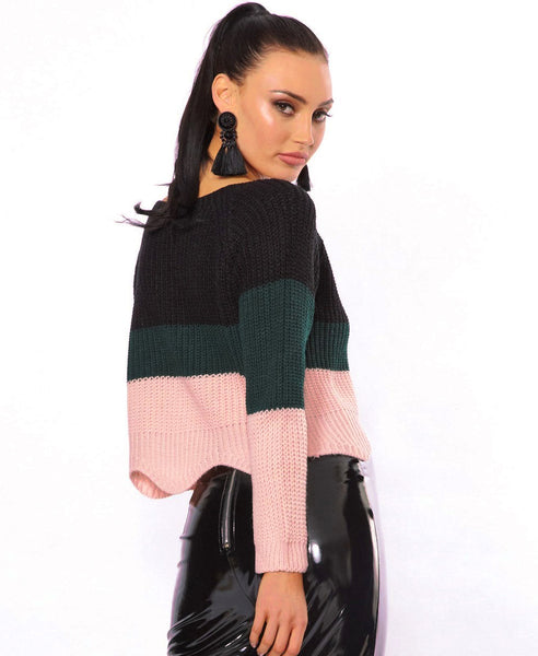 Bella London Ella Black Colour Block Knitted Jumper With Scalloped Hem. Back View