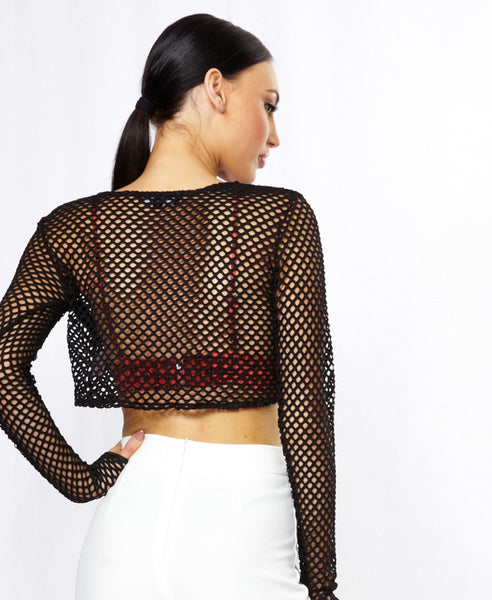 Bella London Daisy Black Large Fishnet Sheer Crop Top With Long Sleeves. Back View