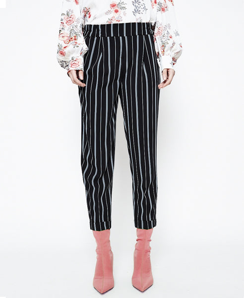Lexi black - striped tapered leg trousers