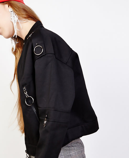 Bella London Jean Black Bomber Jacket With Ring Details. Side View
