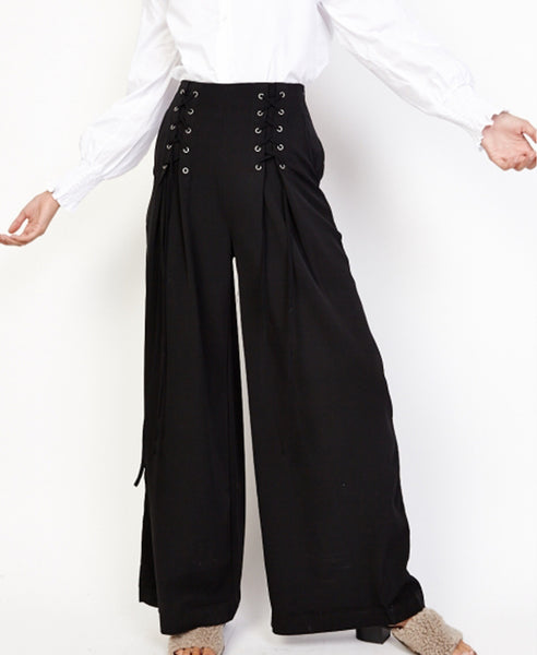 Bella London Ren Black Lace Up Detail Wide Leg Palazzo Trousers. Front View.