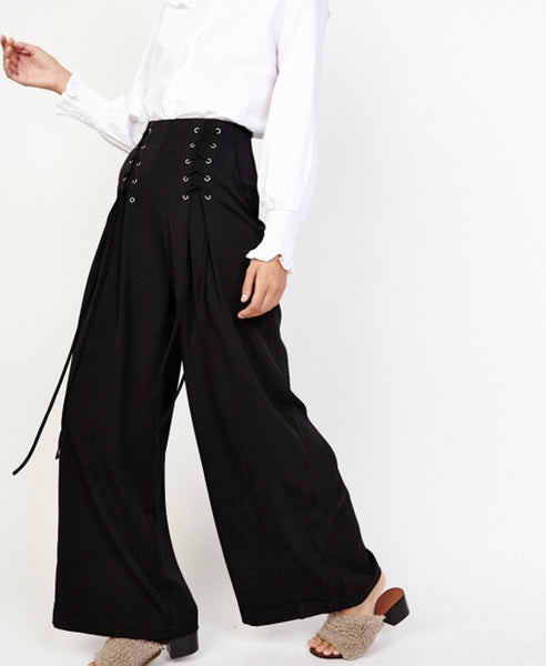 Bella London Ren Black Lace Up Detail Wide Leg Palazzo Trousers. Front Side View.