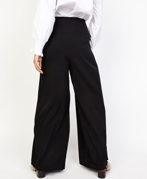 Bella London Ren Black Lace Up Detail Wide Leg Palazzo Trousers. Back View.