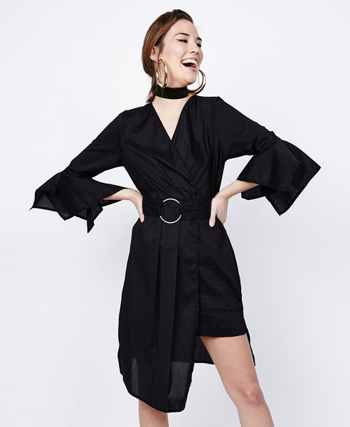 Bella London Azalea Black Asymmetric Wrap Style Shirt Dress. Front View