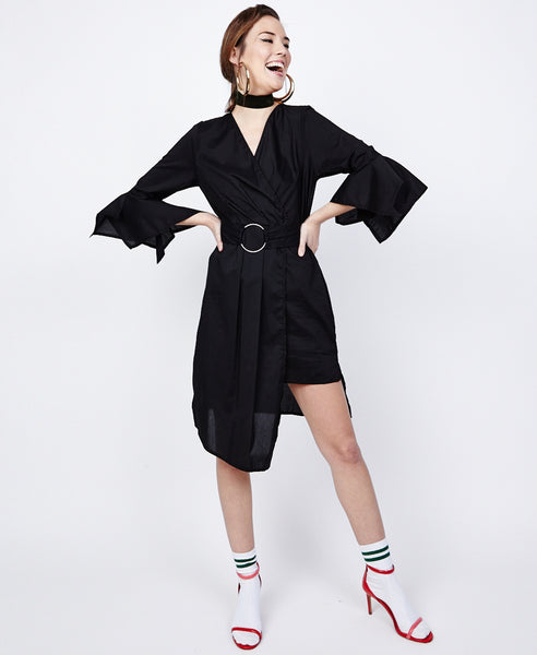 Bella London Azalea Black Asymmetric Wrap Style Shirt Dress. Front Full Length View