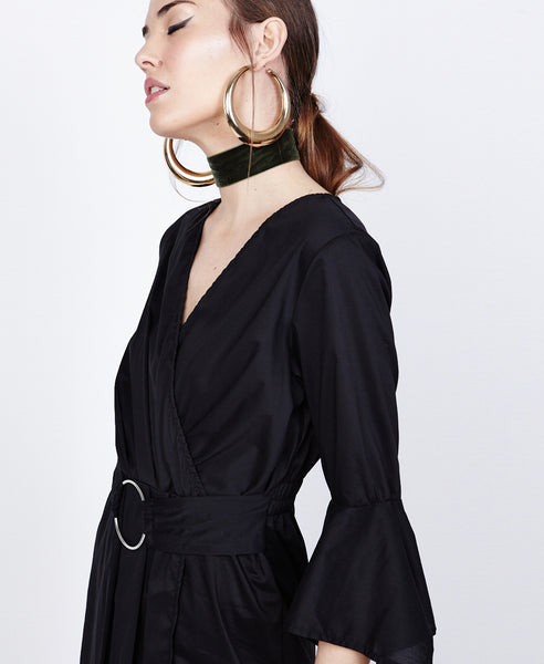 Bella London Azalea Black Asymmetric Wrap Style Shirt Dress. Side Detail View