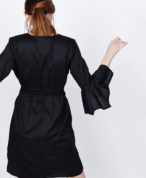 Bella London Azalea Black Asymmetric Wrap Style Shirt Dress. Back View