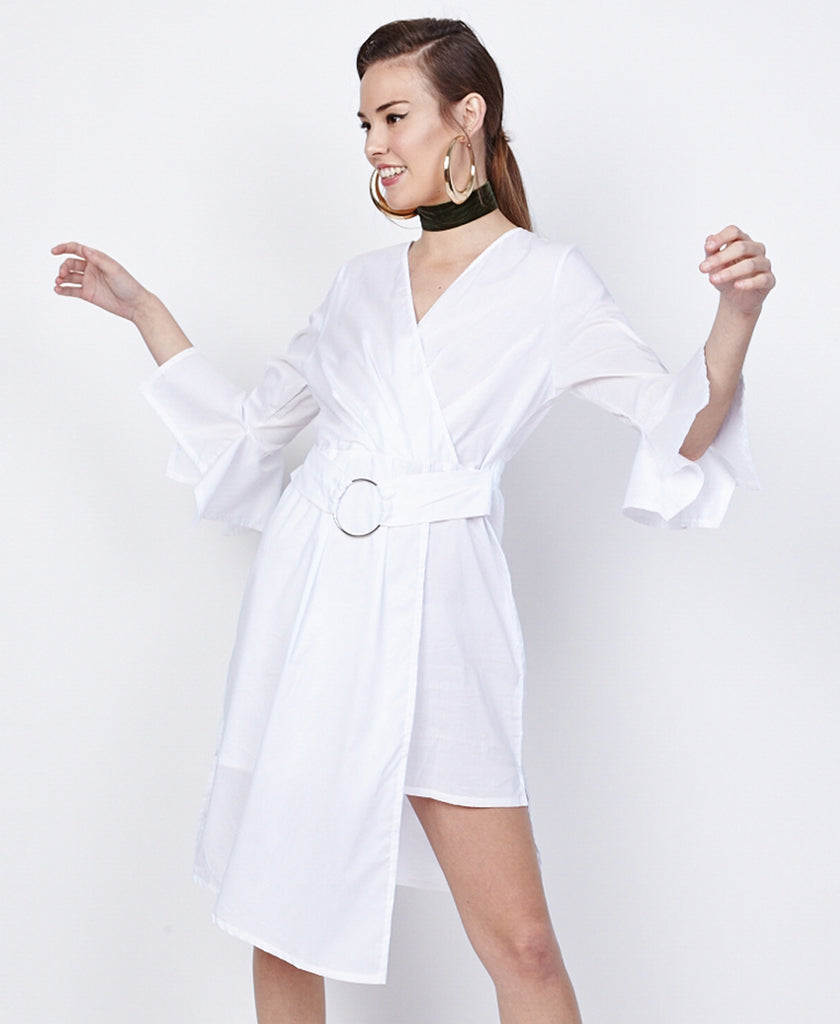 Bella London Azalea White Asymmetric Wrap Style Shirt Dress. Front View