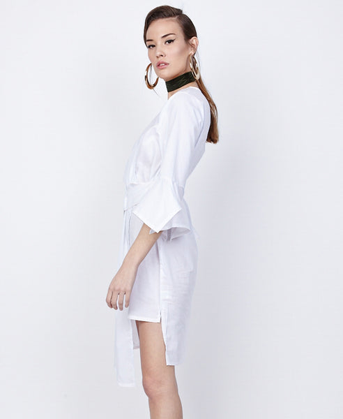 Bella London Azalea White Asymmetric Wrap Style Shirt Dress. Side View
