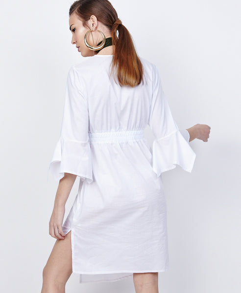 Bella London Azalea White Asymmetric Wrap Style Shirt Dress. Back View