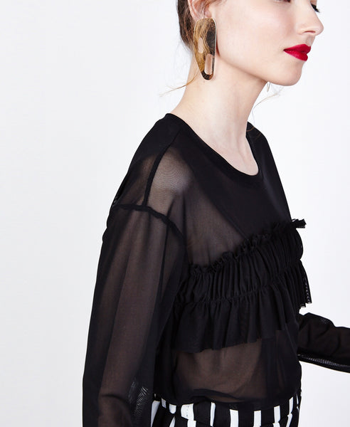 Dahlia black - transparent blouse with front ruffle and long sleeves