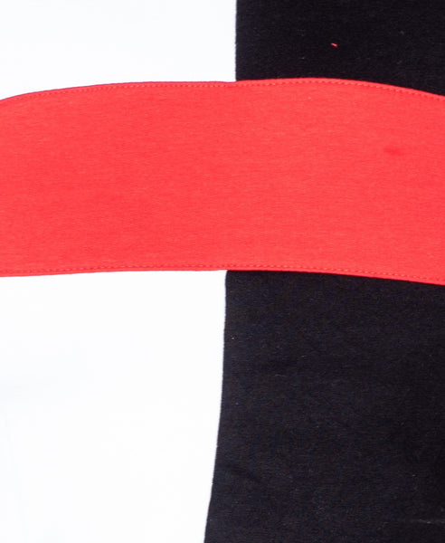 Bella London Holly Black And Red Panel Colour Block Crop Top Co-Ord T-Shirt. Fabric View