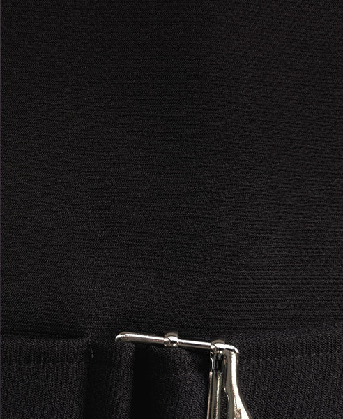 Bella London Black boxy cropped top with buckle fastening and ¾ sleeves. Detail fabric photo.