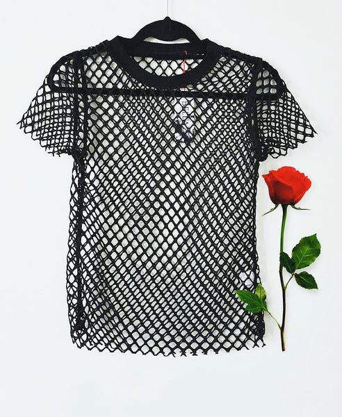Bella London Andre black sheer net T-shirt with raw hem finish. Flat-lay
