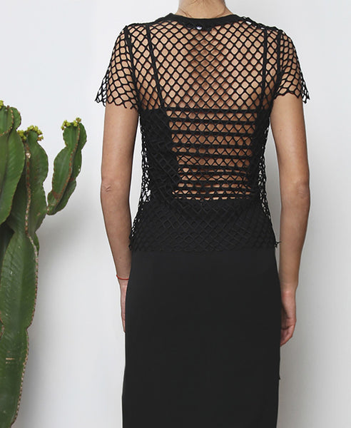 Bella London Andre black sheer net T-shirt with raw hem finish. Close up back view