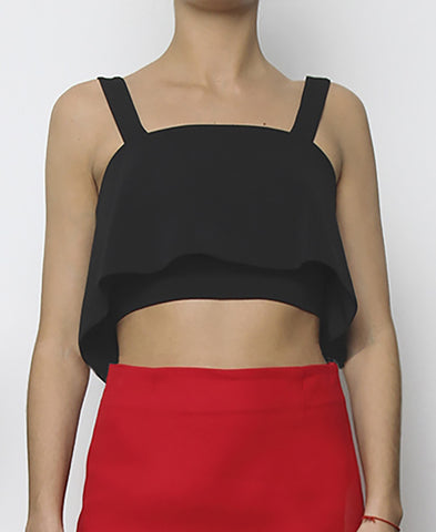 Bella London Black cropped bustier top with ruffle overlay and thick straps. Front photo.