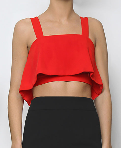 Bella London Hyeres Red cropped bustier top with ruffle overlay and thick straps. Front photo.