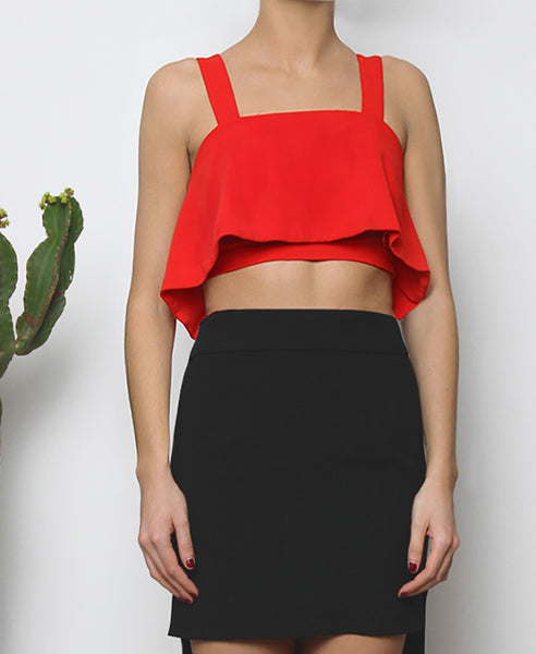 Bella London Red cropped bustier top with ruffle overlay and thick straps. Front photo.