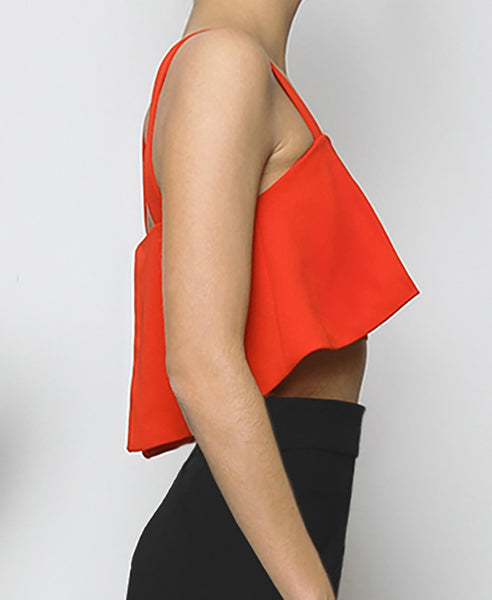 Bella London Red cropped bustier top with ruffle overlay and thick straps. Side photo.