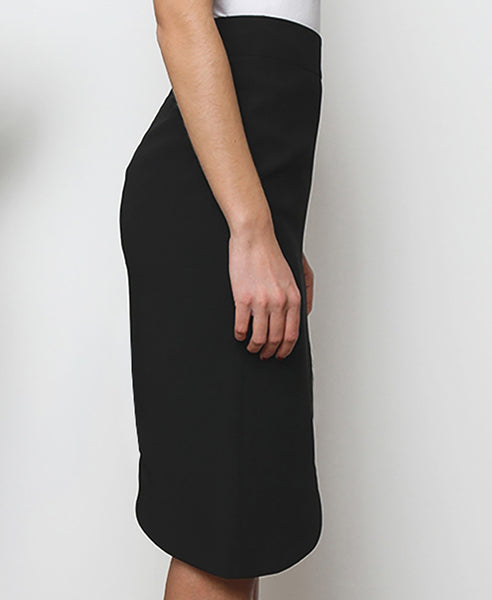 Bella London Black asymmetric skirt with waistband, tigh slit and back invisible zip. Side photo.
