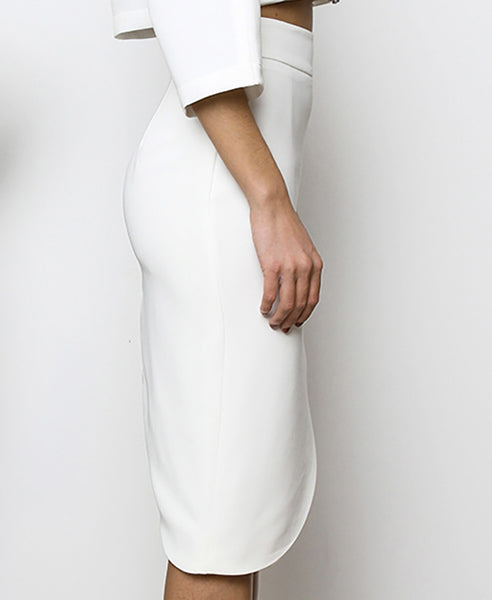 Bella London Najac White Asymmetric Skirt With Waistband And Side Slit. Side View
