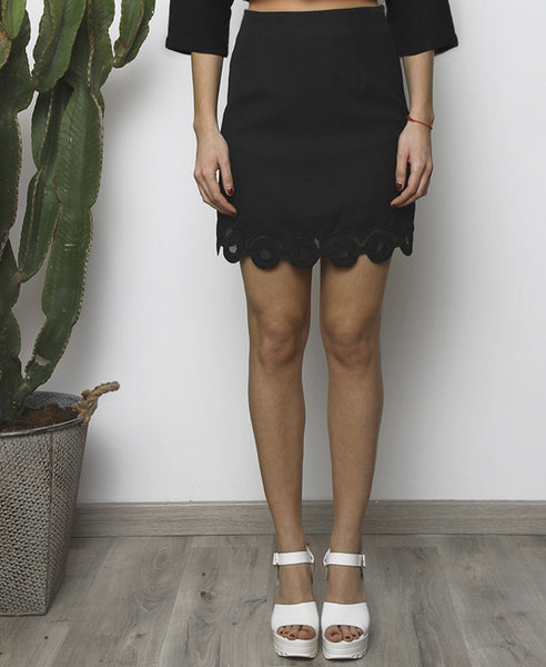 Bella London Black mini skirt with embroidered scalloped hem and organza inserts. Front photo.