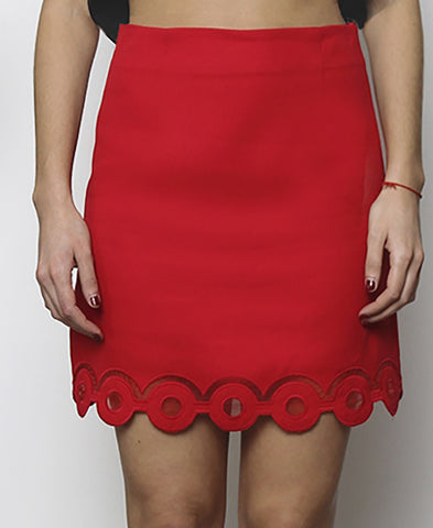 Bella London Red mini skirt with embroidered scalloped hem and organza inserts. Front photo.