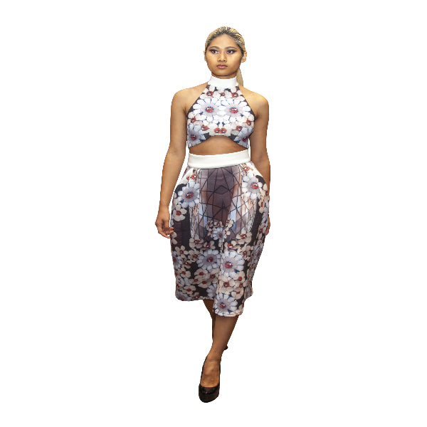 Cherry Blossom High Neck  Crop Top - Petriiski
